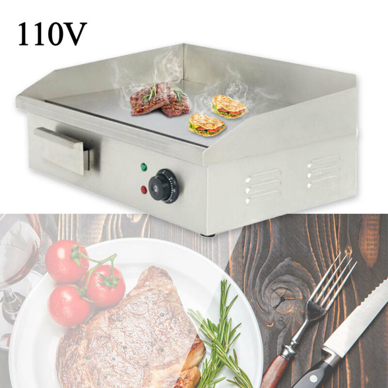 3000W 110V Commercial Stainless Steel Electric Griddle Grill Home BBQ Plate