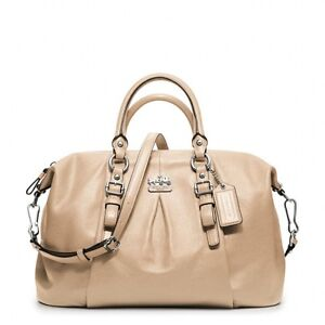 ... COACH F21222 Madison Leather Juliette Satchel Purse SAND BEIGE NWT