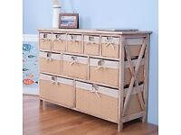 SALE! ASSEMBLED 10 Drawer Baskets Wide Functional Storage Cabinet Bathroom Basket Chest of drawers