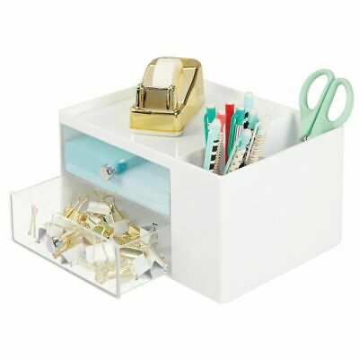Mdesign Plastic Office Storage Caddy Desk Organizer 4 Sections - Whiteclear