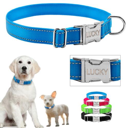 Nylon Reflective Personalized Dog Collars Custom Pet Puppy C