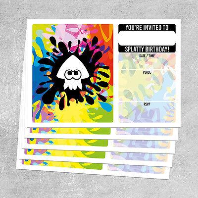 BIRTHDAY INVITATIONS - Squid Splatoon Themed - diy invite invitation A6 - Diy Birthday Invitations