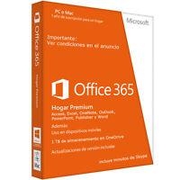 Office 365 / 5pc / Mac/tablet/android Suscripción 1 Año Multi Lenguaje 1tb Nube -  - ebay.es