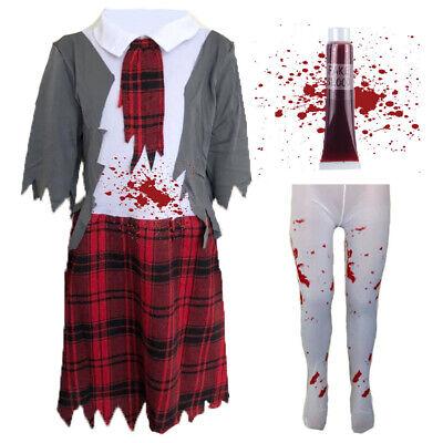CHILDRENS KIDS ZOMBIE DEAD SCHOOL GIRL FANCY DRESS COSTUME HALLOWEEN OUTFIT](Dead School Girl Halloween Outfits)