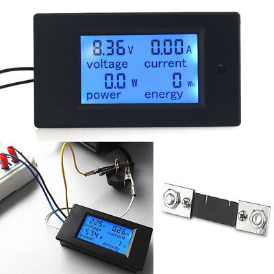 Dc 6.5100v Lcd Digital Combo Panel Current Volt Amp Power Watt Meter Monitor