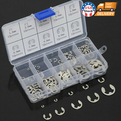 Stainless Steel E Clips C Circlip Kit Retaining Ring 120 X Assorted M1.5 - M10mm