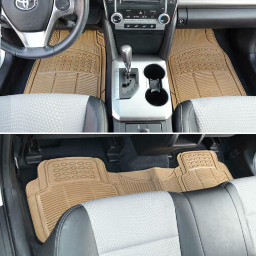Car Floor Mats for All Weather Semi Custom Fit Heavy Duty Trimmable Beige 3PC