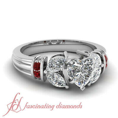 Ruby Gemstone And Marquise Diamond Rings With Heart Shape Center 1.50 Carat GIA