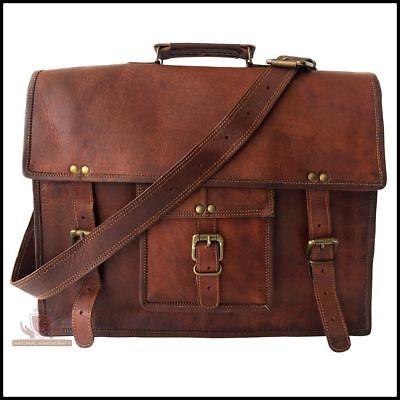 Men's Brown Genuine Vintage Leather Satchel Messenger Man Laptop Briefcase Bag