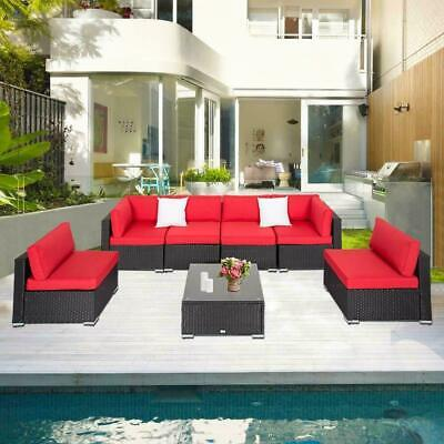 2-7 PCs Rattan Wicker Sofa Set Sectional Red Cushion Patio Furniture - Red Wicker
