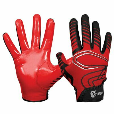 Cutters Mens Football Receiver Glove - Cutters Rev Mens XL Receiving Football Gloves Red Black C-tack Receiver Adult