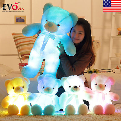 2018 LED Flash Teddy Bear Stuffed Animals Plush Soft Hug Toy Baby Kids Gift New