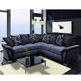 🔵SHANNON SOFA FABRIC & FAUX LEATHER-CORNER/3+2 SEATER-black and grey only