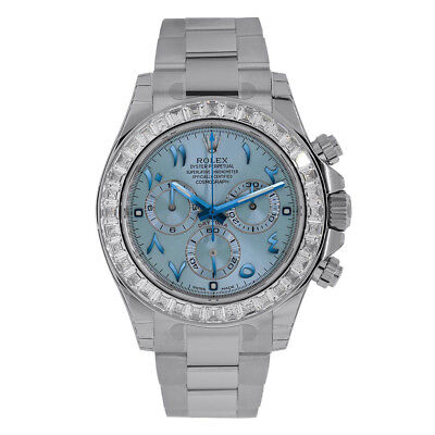 Rolex Daytona Platinum 40mm Diamond Bezel Ice Blue Dial Watch 116576TBR