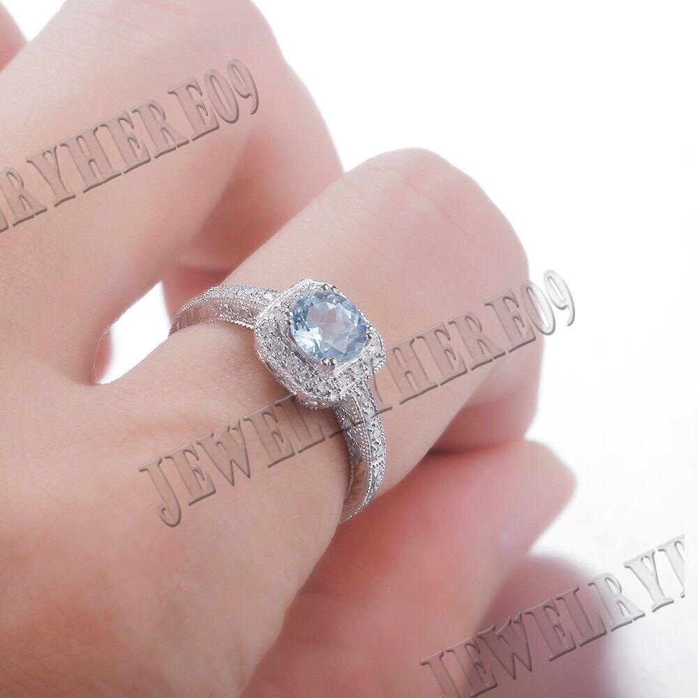 VINTAGE ANTIQUE SKY BLUE TOPAZ NATURAL SI/H DIAMOND WEDDING RING 10K ...