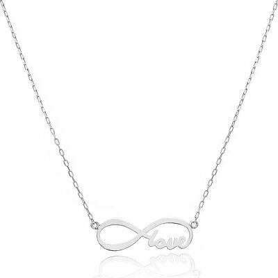 14K White Gold Love Forever Infinity Necklace   Style 2