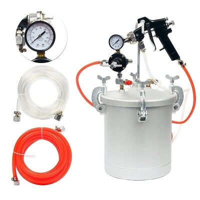 2 1/4 Gallon High Pressure Pot Tank Air Paint Spray Gun Painting Painter 2 Hose for sale  Shipping to Canada