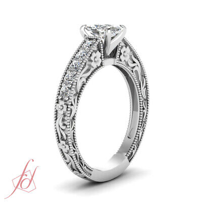 Archaic Style Channel Set Engagement Ring 1.2 Ct Cushion Cut Diamond H-Color GIA 2