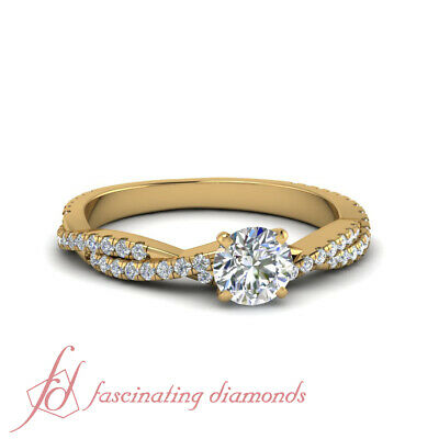 Yellow Gold Round Cut Diamond Intertwined Engagement Rings Pave Set GIA 1.15 Ct