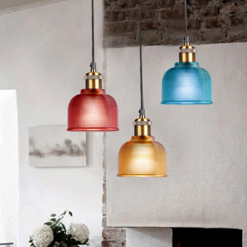 Industrial Glass Pendant Light Color Plating Ceiling Lamp Shade Hanging Fixtures 4