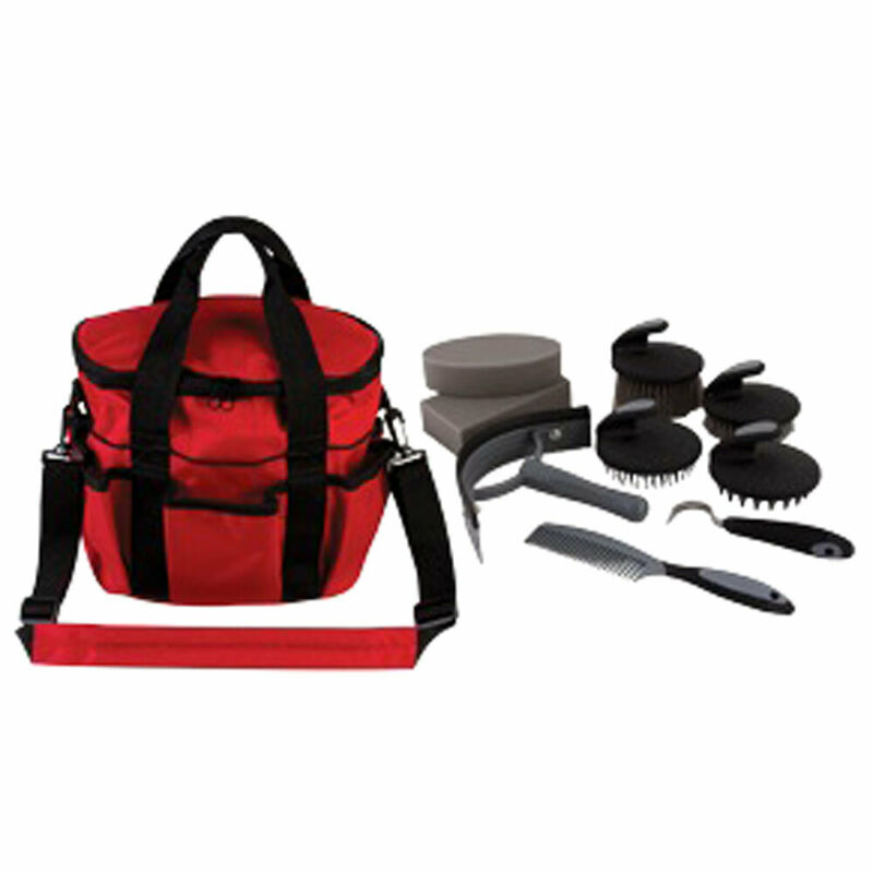 "7.5""Lx10.5""Wx10""H Hilason 10 Pc. Premium Grey Horse Grooming Kit Red Bag U-Y-RD"