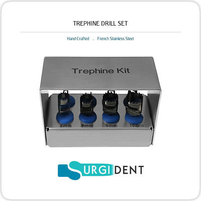 Dental Trephine Drills Kit 8 Pcs Implant Bur Holder Surgery