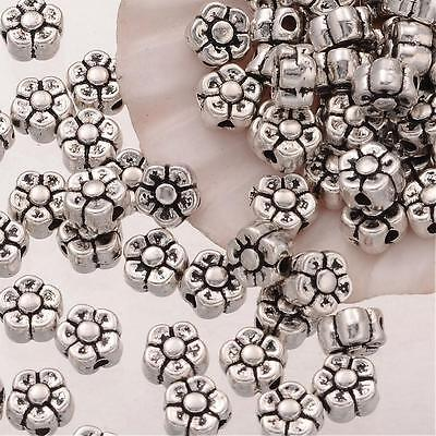 20 Flower Beads Spacer Beads Metal Antiqued Silver 5mm Findings
