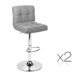 2 x Cruz Fabric Swivel Bar Stools Grey