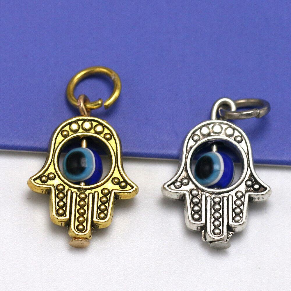 10X Jewellery Making Craft Silver Hamsa Pendant Hand Fatima Charm Evil Eye 20 mm