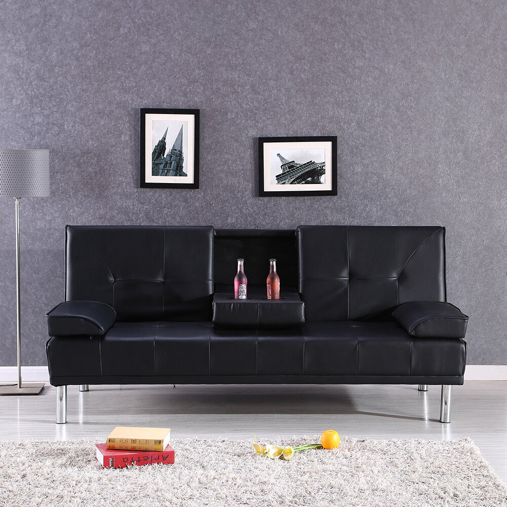 Modern Black Design Luxury Style Fold Up Down Recliner Sofa Bed With Cup Holders