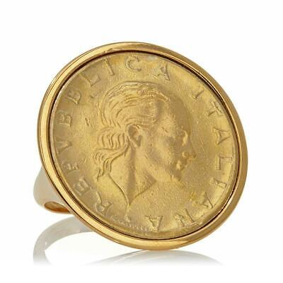 Bellezza Gold-tone High Polished Italian Lira Coin Ring Size 5 HSN