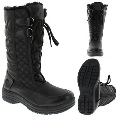 Womens Winter Boots Snow Fur Warm Insulated Waterproof Lace Up Shoes Size 8