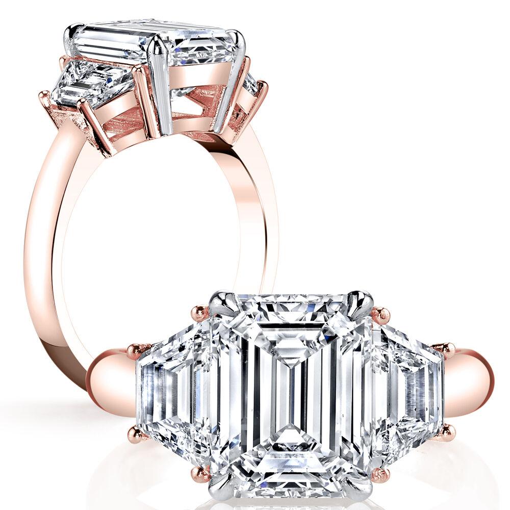 1.60ctw Natural Emerald 3-Stone Trapezoid Diamond Engagement Ring - GIA Certifie 1
