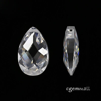 2 Cubic Zirconia Flat Pear Briolette Pendant Beads 10x16mm Clear / White #96199 ()