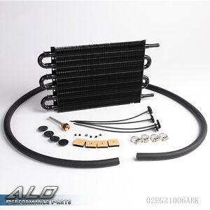 6 Row Radiator Remote Aluminum Transmission Oil Cooler + Hose / Mounting Kit