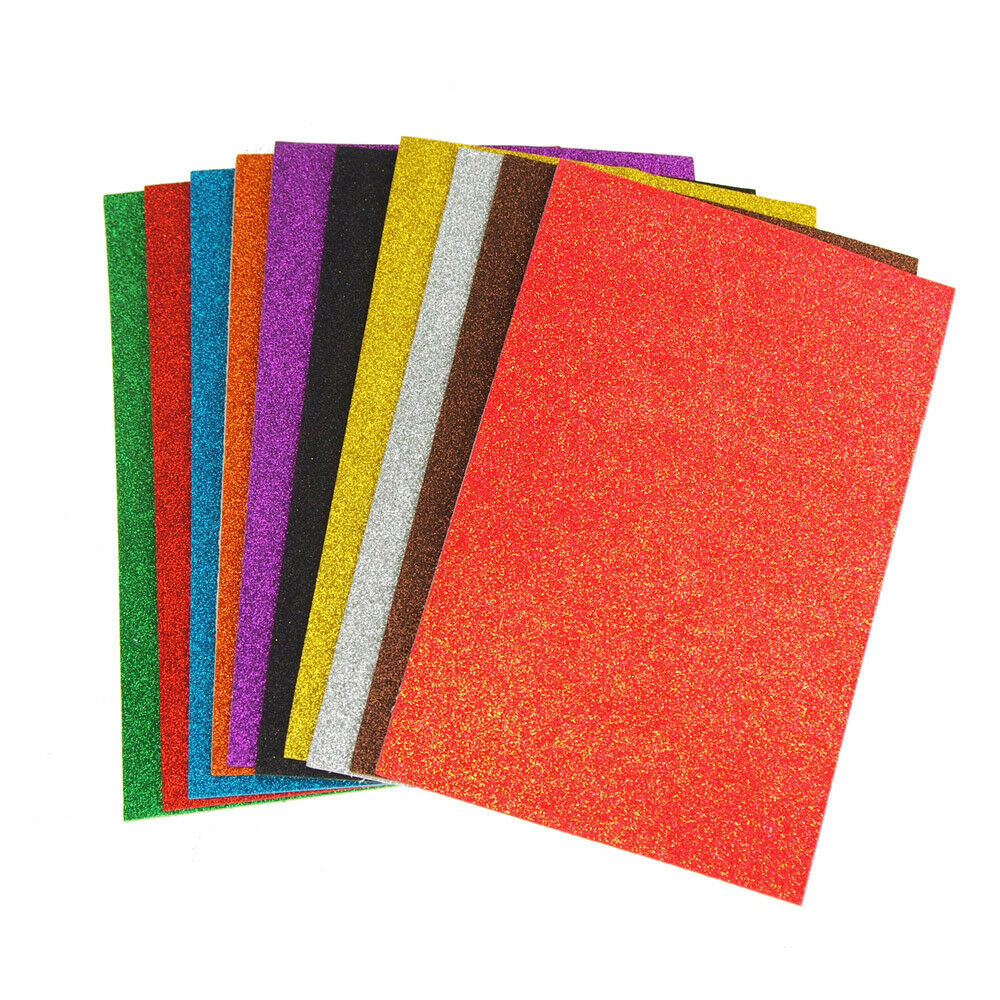 Self-Adhesive Glitter EVA Foam Sheets, 8-Inch x 12-Inch, 3-P