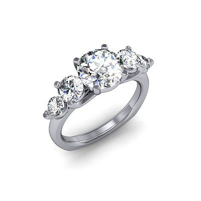 1.90 Ct. Natural Round Cut 5-Stone Diamond Engagement Ring - GIA Certified 2