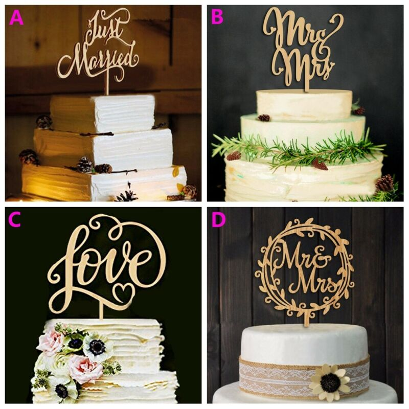 Details About Diy Wedding Love Cake Topper Laser Cut Wood Letters Wedding Cake Favors Gifts