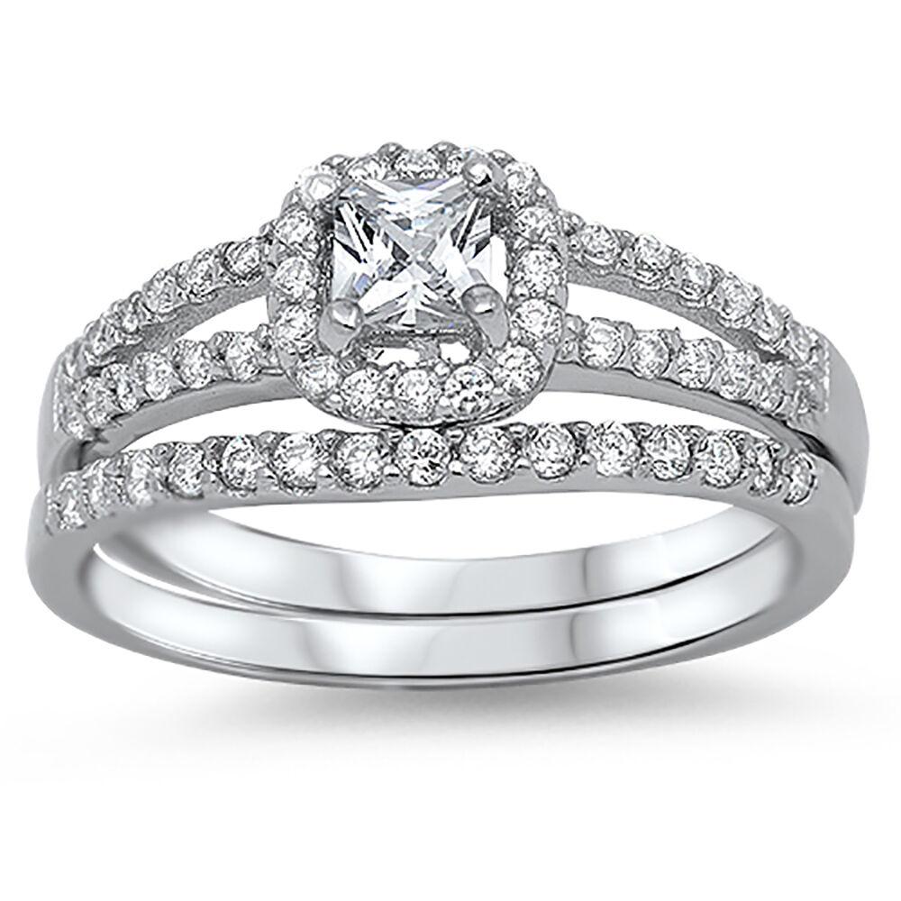 Sterling Silver .925 CZ Vintage Antique Style Engagement Wedding Band Set 5-10
