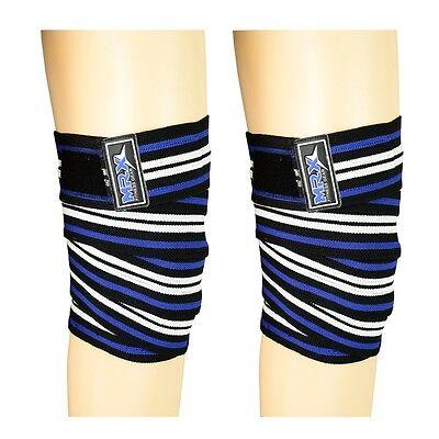 Weight Lifting Knee Wraps Gym Training Power Bandages Support Blue Black White