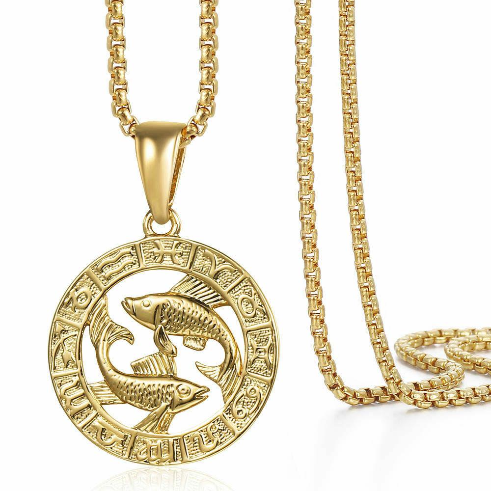 14K 12 Constellation Horoscope Zodiac Sign Gold Plated Unisex Pendant Necklace