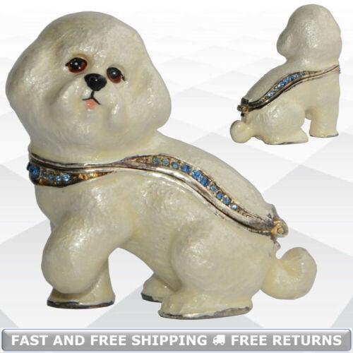 Bichon Frise Dog Pewter Hinged Enamel Jewelry Trinket Box Jeweled Crystals Decor