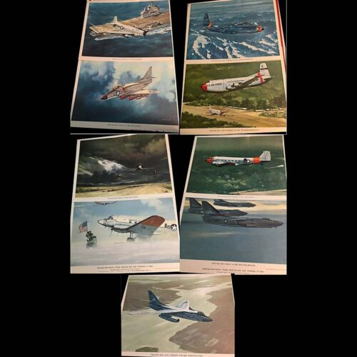 RARE 9 Orig 1964 11x14 illustrated prints Douglas military Aircraft by RG Smith