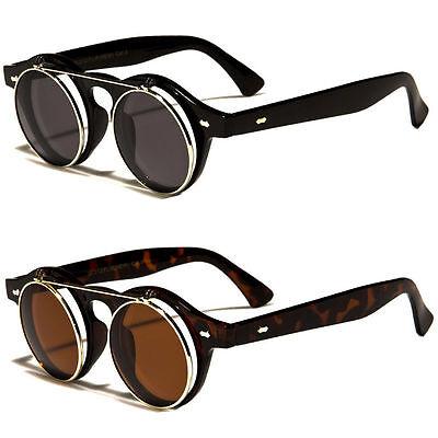 Cool Flip Up Lens Steampunk Vintage Retro Style Round Sunglasses Tortoise (Round Flip Up Sunglasses)