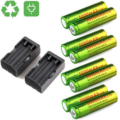 8PCS 5000mAh BRC 3.7v 18650 Rechargeable Li-ion Battery+2 X Dual Smart Charger