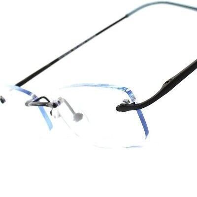 Elegant Light Blue Tint Stylish Sexy Rectangle Mens Womens Frameless Sun Glasses