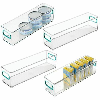 mDesign Plastic Stackable Food Storage Container Bin, Handles - Clear/Blue Blue Food Storage
