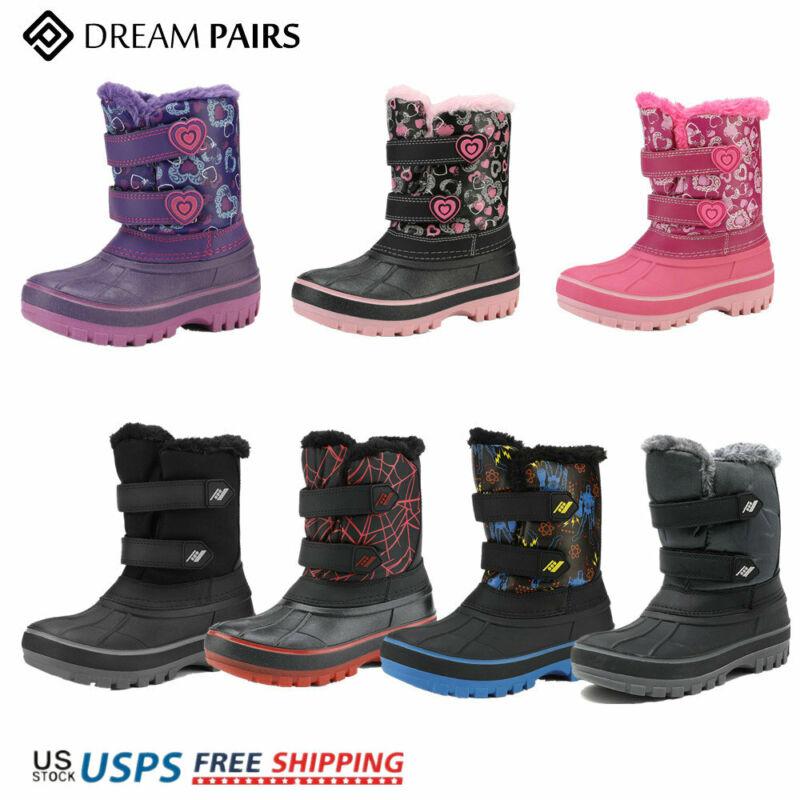 DREAM PAIRS Boys Girls Kids Winter Snow Boots Outdoor Warm Waterproof Sport Boot