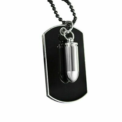 Men's Stainless Steel Black Bullet Dog Tag Pendant Necklace w Bead Chain Fashion Jewelry