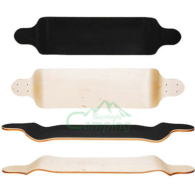 New DROP THROUGH MAPLE Longboard skateboard Deck with grip Black